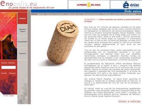 ESPAÑA - La prensa del rioja : Diam aumenta sus ventas y posicionamiento en Rioja